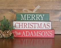 Christmas Decor, Wood Christmas Decor, Personalized Christmas Decor, Stacking Blocks, Customized Christmas Decor, Merry Christmas decor