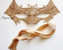 Gold Bat Girl Mask, Halloween Bat girl's Masks, Black Bat Mask, Bat Girl Costume Mask, Bat girl Lace Masks