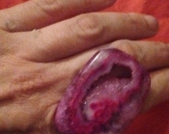 purple pink druzy statement ring