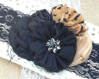 Baby Couture Headband, Girls Couture Headband, Toddler Boutique Headband, Black Lace Headband, Boutique Style Headband, Little Girl Headband