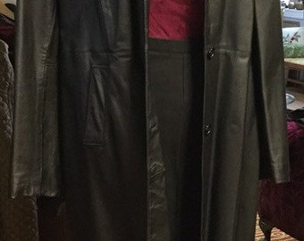 Vintage 90s Long Leather Coat
