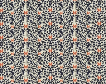 Timeless Treasures Toccata C3808, Butterfly Wings Fabric, Abstract Navy, Cream, Burnt Orange Quilt Fabric, Cotton Yardage