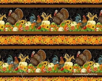 Thanksgiving Border Fabric, Wilmington Print 28075 Harvest Time, Turkey, Rooster, Pumpkin Fabric, Fall Quilt Border Fabric, Cotton