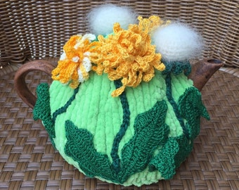 Crochet tea cozy green tea cover dandelion tea cosy tea warmer crochet flower green kitchen accessory crochet high tea accessory décor