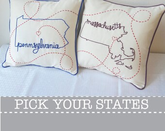 Connecting States Massachusetts Pennsylvania with Hearts Embroidered Custom Decorative Housewarming Throw Pillow Cover Set
