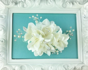 Ivory rhinestone wedding hair flower comb, wedding hair accessories, wedding flower comb, hair flower comb, ivory hair flower 204873779