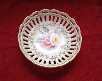 Hand Painted Ornate Porcelain Dish With Cutouts, Gold Trim, Rose Pattern , Bonbon Dish, Nut Dish, Candy Dish, Trinket Dish, Lattice Cutouts