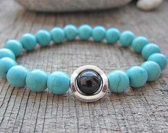 Turquoise bracelet Mens gifts Bracelet set Blue bracelet His and his bracelet Gifts for runners Gifts for guys Blue and black Black and blue