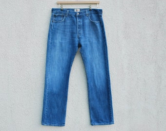 Levis 501 Blue Student Fit Highwaisted Levi Strauss Jeans Hippie Bohemian Jeans American Denim Waist 36 Length 32