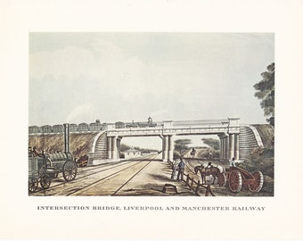 vintage steam train Liverpool and Manchester Railway Intersection bridge print illustration home office décor 9.5 x 7 inches
