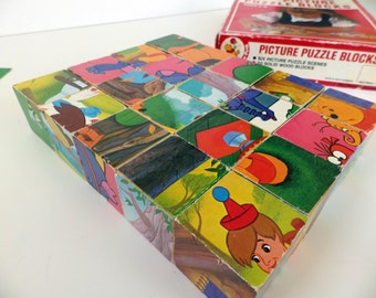 Vintage 70s Winnie the Pooh picture cube puzzle - 6 different pictures to make - Walt Disney Productions - Made in West Germany