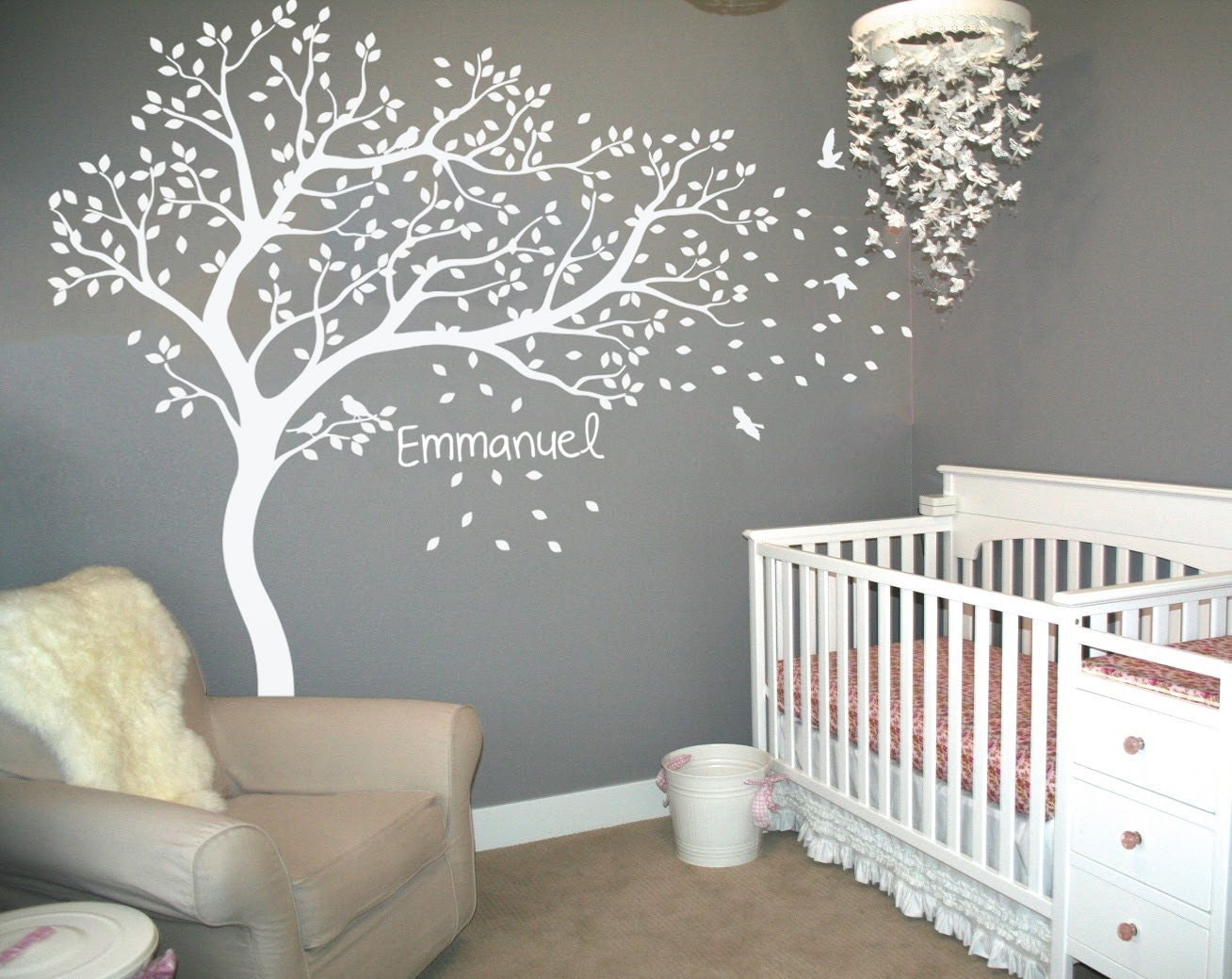 White tree decals with birds nursery tree with custom baby for Baby nursery tree mural