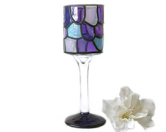 Purple, white and blue stemmed tealight/votive candle holder, stained glass look