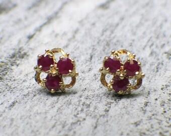 Vintage 18K Gold Ruby Stud Earrings