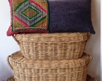 "Vintage Hilltribe Hand Stitched Hilltribe Ethnic Boho Cushion Cover 12"" x 24"""