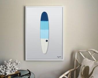 Vintage Raglan Surfboard Ombre Blue Illustrated Print. Summer Decoration,Lake Home, Ocean.