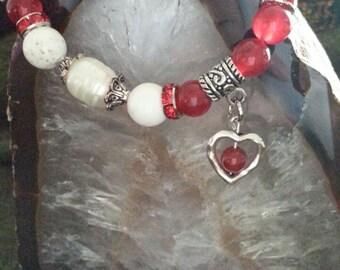 Gemstones Bracelet, Red Jade, Fresh Water Pearls, Carnelian and White Turquoise