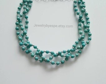 Turquoise Necklace, Statement Necklace, Blue Wedding Jewelry, Turquoise Bridesmaid, Turquoise Multi Strand, Chunky Turquoise and Silver