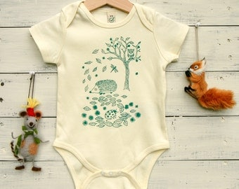 Organic Cotton Baby Bodysuit - Hand Printed Baby's Bodysuit - Hedgehog in Forest - Green Print on Ecru/Natural