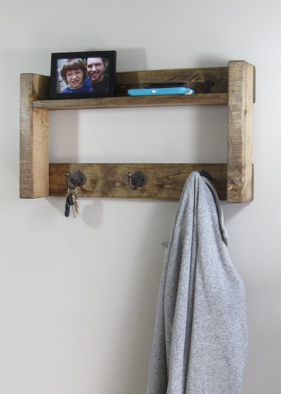 wood coat rack w shelf rustic coat racks entryway by. Black Bedroom Furniture Sets. Home Design Ideas