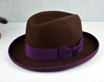 1bde778ab6f Classic Brown Homburg Fedora - Pure Wool Felt Gutter Crown Homburg Hat -  Handmade- Men