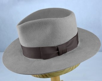 Light Grey Fur Felt Fedora - Handshaped Teardrop Flat Brim Fedora - Men Women