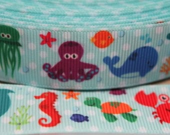 Sealife Ribbon 7/8 Inch Grosgrain Ribbon by the Yard for Hairbows, Scrapbooking, and More!!