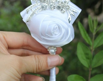 White Rose Boutonniere  - Available in different colors