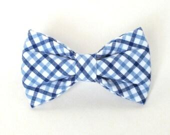 Preppy Blue Plaid Dog Bow Tie, Cat Bow Tie, seersucker, pet bow tie, collar bow tie, wedding bow tie