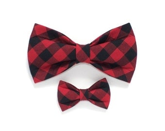 Red Buffalo Checks Dog Bow Tie, plaid, pet bow tie, collar bow tie, wedding bow tie, winter, christmas