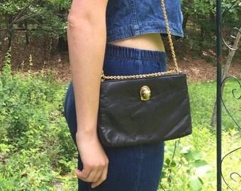 60s Purse Black Leather Purse Lion Emblem Black Leather Handbag Gold Tone Chain Hardware Long or Short Chain Handbag, by Ruth Saltz 60s 70s