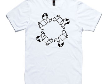 Chasing Pugs Origami T-Shirt by RockPaperHeart in black or white pug dog mens and womens