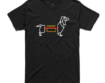 Hot Dog Dachshund Origami T-Shirt by RockPaperHeart in black, sausage dog mens and womens hotdog