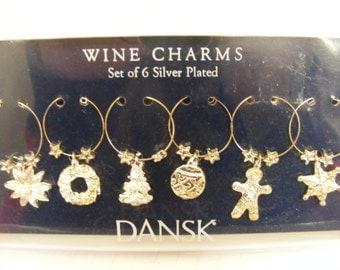 Set of 6 Dansk Wine Charms for Christmas