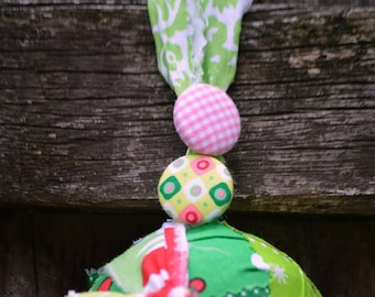 Button Fabric Rag Ball Christmas Tree Ornament ~ fabric rag tie