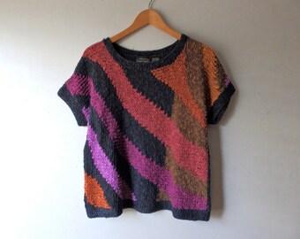 80s Short Sleeve Linen/Cotton Knit Top - Size Medium