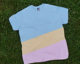 COLORBLOCK TEE - Sky Blue, Pale Yellow, Baby Pink
