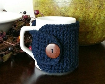 Cotton Coffee Mug Cozy, Coffee Cozy in Navy, Navy Blue Cup Cozy, Coffee Sleeve, Coffee Lovers Gift