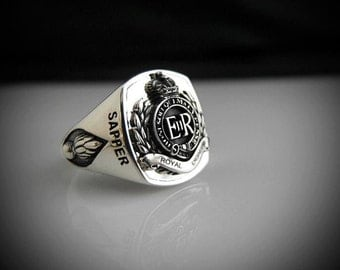 Royal Engineers Bespoke Oxidized Silver Ring By Sir Yes Sir