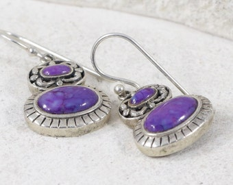 Charoite Earrings / Sterling Silver Earrings / Vintage Earrings / Purple Earrings / Dangle Earrings (Item#EE314)