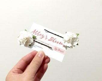 White rose hair pins/ woodland hair accessories/ flower hair clip wedding bridal hair pin