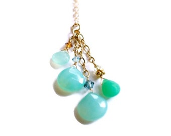 Amazonite Necklace, Chalcedony Necklace, Cluster Necklace, Gemstone Necklace, Tassel Necklace