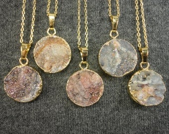 Brazilian Chalcedony Druzy Gold Pendant Necklace/Amorite Chalcedony Rose/Natural Geode Druzy/Choose Your Pendant