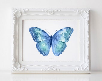 Blue Butterfly wall art, Butterfly Print, Butterfly wall decor Blue print, Bedroom art Royal Blue Butterfly art print, Nursery art printable