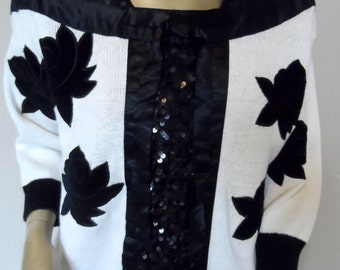 Vintage 1980's Black & Off-White Sweater* Sequins . Satin Ribbon . Velvet Flowers . Size L . Party . Wedding .BONNIE and BILL by Holly