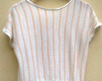 70s PASTEL STRIPED Pointelle TOP wHITE+peach  knitwear short sleeve 1970s vintage Pullover batwing Abba disco Top// small / S