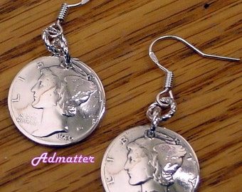 1942 75th Birthday Sterling Silver Dime Earrings Domed Coin Jewelry Rare Mercury Coins OR PICK YEAR! 1937 80th Birthday AnniversaryGift 1945