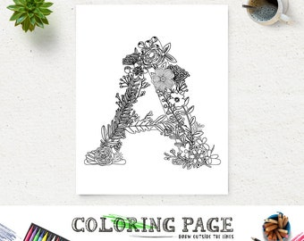 92 Coloring Pages For Adults Letter A