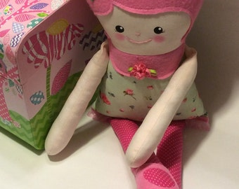 "Handmade Retro Mama Greta Cloth Doll 19"" Lila Plush Softie Rag Doll With Hot Pink Wool Felt Hair"