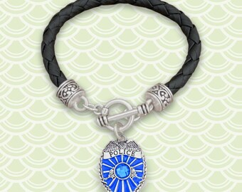Police Badge Leather Bracelet